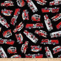 Timeless Treasures Rescue Tossed Fire Engines Black
