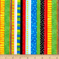 Timeless Treasures Flannel Bugtopia Funky Stripe Multi