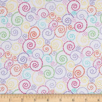 Timeless Treasures Flannel Bugtopia Dotted Swirls White
