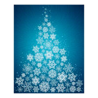 "Supernova Seasons Digital Snowflake Tree 44"" Panel Turquoise"
