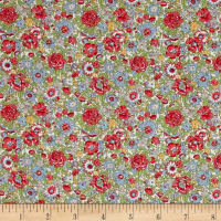 Liberty Fabrics Classic Tana Lawn Amelie Green/Red