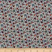 Liberty Fabrics  Contemporary Classic Tana Lawn Le Temps Viendra Green/Red
