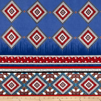 Telio Vienna Jersey Knit Medallion Border Print Blue