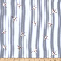 Telio Rayon Voile Stripe Bird Blue