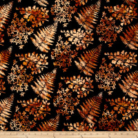 Bali Handpaints Batiks Mixed Leaves Copper