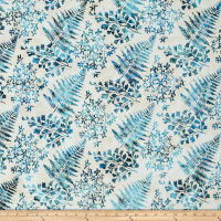 Bali Handpaints Batiks Mixed Leaves Cerulean