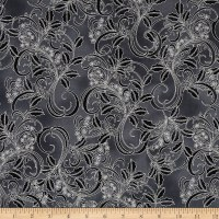 Winter Blossom Metallic Holly Scroll Charcoal/Silver