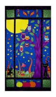 "Happy Owl-O-Ween Spooky Night 23.5"" Panel Bat Black"