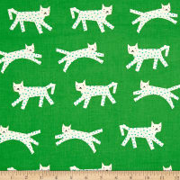 Cotton + Steel Noel Snow Leopard Green