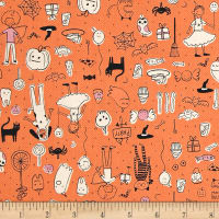 Cotton + Steel Lil' Monsters Party Orange