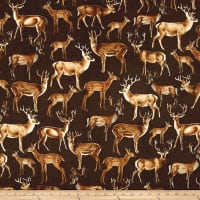 Timeless Treasures Wilderness Deer Brown