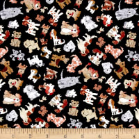 Timeless Treasures Mini's Dogs Black
