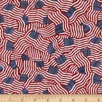 Timeless Treasures Mini's American Flags USA