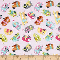 Timeless Treasures Mini's Campers Pink