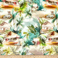 Telio Digital Printed Linen Tropical Tigers Multi