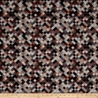 "Hopscotch Digital 108"" Quilt Backing Brown"
