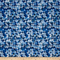 "Hopscotch Digital 108"" Quilt Backing Blue"