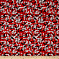 "Hopscotch Digital 108"" Quilt Backing Red"