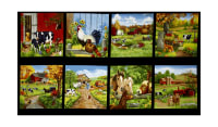 "Old Farmstead Farm Blocks 24"" Panel Black"