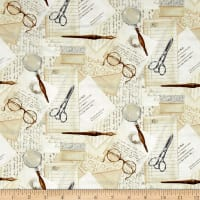 Bookshop Papers With Writing Motifs Ivory