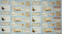 "Bookshop Quilt Labels 36"" Panel Light Blue"