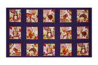 "Jennifer Brinley Enchanted Forest Animal Blocks 24"" Panel Eggplant"