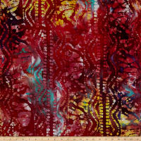 Merrivale Indian Batiks Geo Burgundy Multi