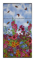 "Lennie Honcoop Prairie Gate Floral 23"" Panel Light Blue"