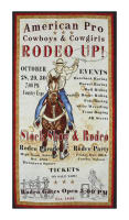 "Western Denim & Dirt Rodeo Up! 23"" Panel Rodeo Poster Ivory"