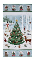 "Gina Linn A Time Of Wonder Scenic 25"" Christmas Tree Panel Light Blue"