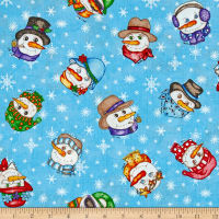 Western Denim & Dirt Flaky Friends Snowman Faces Light Blue