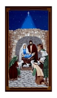 "Silent Night 24"" Nativity Scene Panel Blue"
