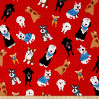 Must Love Dogs Dogs On Dots Red