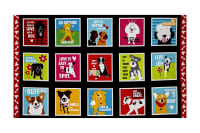 "Must Love Dogs Dogs & Sayings In Boxes 25"" Panel Black"