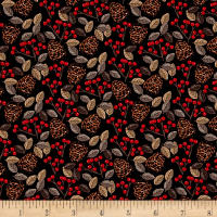 Natalie Alex Snow Delightful Pinecones & Berries Black