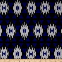 ITY Stretch Jersey Knit Aztec Ikat Print Royal Blue/Black/White