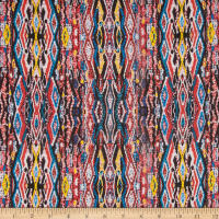 Ikat Stripe Silk Chiffon Cobalt/Red/Yellow
