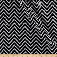 Sequin Jersey Knit Mini Chevron Black/White
