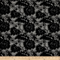 Lace Floral Chenille Textured Black