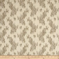 Stretch Lace Metallic Border Floral Taupe