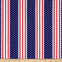 Cotton Stretch Jersey Knit American Stars and Stripes