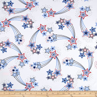 Fabric Merchants Cotton Jersey Knit Shooting Stars White/Blue/Red