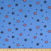 Cotton Jersey Knit American Stars Blue/Red/White