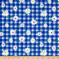 Fabric Merchants Cotton Jersey Knit Daisies on Gingham White/Blue