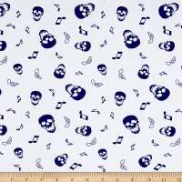 Cotton Jersey Knit Skulls and Music Notes White/Navy