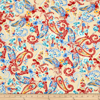Telio Picasso Rayon Poplin Floral Paisley Ivory/Coral