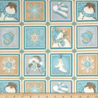 I Still Love Snow Flannel Small Blocks Snowmen Multi