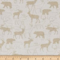 Woodland Retreat Flannel Animal Silhouette Beige