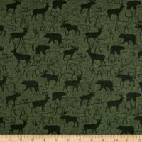 Woodland Retreat Flannel Animal Silhouette Green