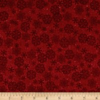 Woodland Retreat Flannel Snowflake Red
